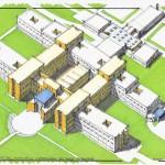 Progetto esecutivo del nuovo polo ospedaliero del basso ferrarese  – Perizia di assestamento in riduzione per n°270 posti letto, per la Coopcostruttori di Argenta (FE). (1996)