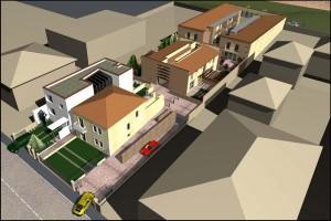 Progetto per il recupero di area artigianale tra la darsena e le mura di Ferrara per la realizzazione di 19 unità residenziali e direzionali. (2002)